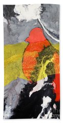 Red Bird Flyaway Beach Towel