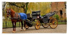 Immaculate Horse And Carriage Bruges Belgium Beach Towel