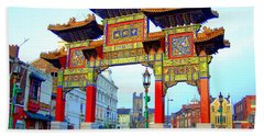 Imperial Chinese Arch Liverpool Uk Beach Sheet