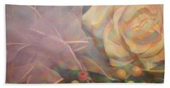 Beach Towel featuring the photograph Impressionistic Pink Rose With Ribbon by Dora Sofia Caputo Photographic Art and Design