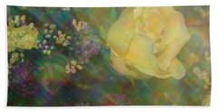 Beach Towel featuring the photograph Impressionistic Yellow Rose by Dora Sofia Caputo Photographic Art and Design