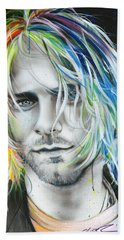 Kurt Cobain - ' In Debt For My Thirst ' Beach Towel by Christian Chapman Art