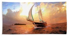 In Full Sail - Oil Painting Edition Beach Towel by Lilia D