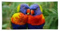 In Love Lorikeets Beach Towel by Peggy Franz