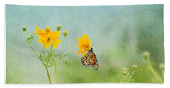 In The Garden - Monarch Butterfly Beach Towel by Kim Hojnacki