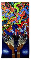Colorful Abstract Art Painting, Creative Energy Flow Art, Afrofuturism Beach Towel