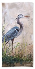 In The Reeds-blue Heron-a Beach Towel
