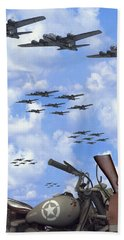 Indian 841 And The B-17 Panoramic Beach Towel