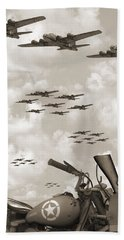 Indian 841 And The B-17 Panoramic Sepia Beach Towel