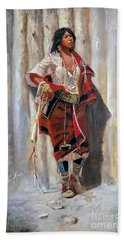 Indian Maid At Stockade By Charles Marion Russell Beach Towel