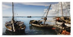 Indian Ocean Dhow At Stone Town Port Beach Sheet
