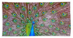Beach Towel featuring the photograph Indian Peacock by Deena Stoddard