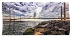 Indian River Bridge Clouds Beach Towel