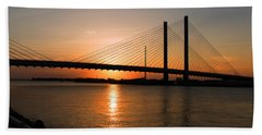 Indian River Bridge Sunset Reflections Beach Towel