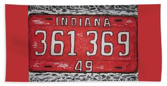 Indiana 1949 License Platee Beach Sheet by Kathy Marrs Chandler