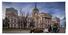 Indiana Capital Building - Front With Horse Passing Beach Towel