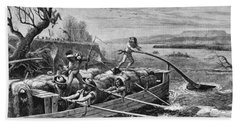 Indians Attacking Fur Traders Beach Towel