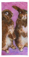 Indignant Bunny And Friend Beach Towel