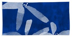 Indigo Flowers Beach Towel