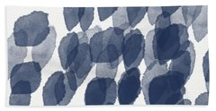 Indigo Rain- Abstract Blue And White Painting Beach Sheet