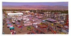 Beach Towel featuring the photograph Indio Fair Grounds by Chris Tarpening