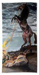 Beach Towel featuring the painting Indomitable Listen With Music Of The Description Box by Lazaro Hurtado