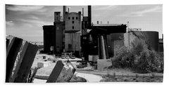 Industrial Power Plant Landscape Smokestacks Beach Towel