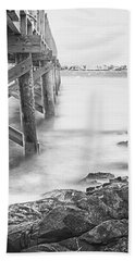 Infrared View Of Stormy Waves At Stramsky Wharf Beach Towel by Jeff Folger