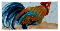 Beach Towel featuring the painting Innocent Rooster by Beverley Harper Tinsley