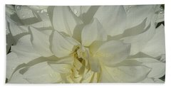Innocent White Dahlia  Beach Sheet by Susan Garren