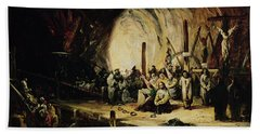 Inquisition Scene, 1851 Oil On Canvas Beach Towel
