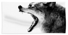Intense Gray Wolf Portrait  Beach Towel