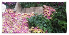 Beach Towel featuring the photograph Interior Decorations Butterfly Gardens Vegas Golden Yellow Purple Flowers by Navin Joshi