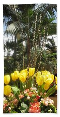 Beach Towel featuring the photograph Interior Decorations Butterfly Gardens Vegas Golden Yellow Tulip Flowers by Navin Joshi