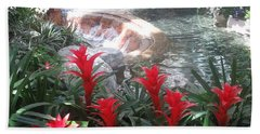 Beach Towel featuring the photograph Interior Decorations Water Fall Flowers Lights Shades by Navin Joshi