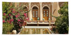 Interior Garden With Pond In Yazd Iran Beach Towel
