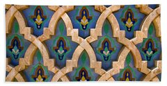 Intricate Zelji At The Hassan II Mosque Sour Jdid Casablanca Morocco Beach Towel