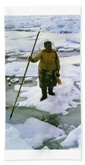 Beach Sheet featuring the photograph Inuit Seal Hunter Barrow Alaska July 1969 by California Views Mr Pat Hathaway Archives