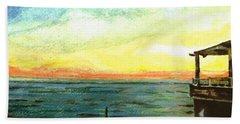 Beach Towel featuring the painting Ionian Sea Zanti Greek Island by Teresa White