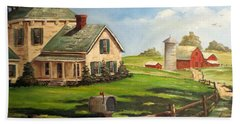 Iowa Farm Beach Towel by Lee Piper