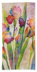 Iris Elegance On Pink Beach Towel