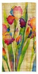 Iris Elegance On Yellow Beach Towel