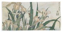 Iris Flowers And Grasshopper Beach Towel by Hokusai