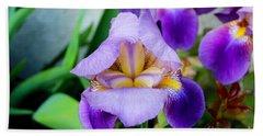 Iris From The Garden Beach Sheet