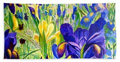 Iris Spring Beach Sheet by Julie Brugh Riffey