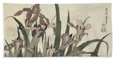 Irises And Grasshopper Beach Towel