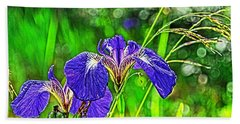 Beach Towel featuring the photograph Irises by Cathy Mahnke