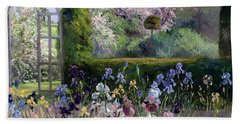 Irises In The Formal Gardens, 1993 Beach Towel