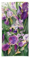 Beach Towel featuring the painting Irises In The Garden by Nadine Dennis
