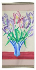 Irises Beach Towel by Ron Davidson